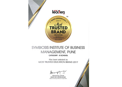 Symbiosis Institute of Business Management, Pune, has been selected for the 2017 'LEADERS ASIA, India's Most Trusted Education Brands 2017 in the GOLD Category.