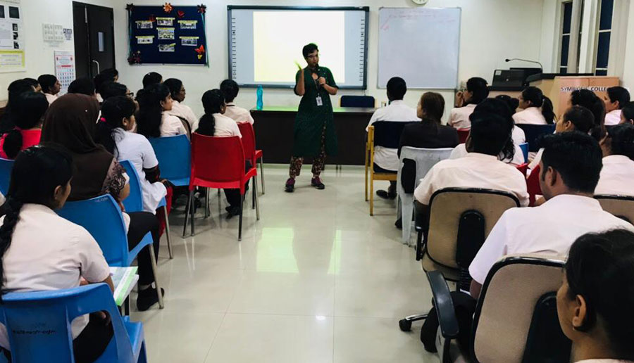 ShilpaAvate, Officer Biodiversity interacting with students of Symbiosis School of Nursing